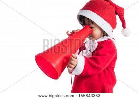 Asian Chinese Little Girl In Santa Costume Holding Loudspeaker