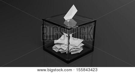 3d rendering glass ballot box on black background