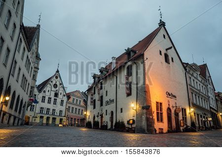 TALLINN ESTONIA - OCTOBER 30 2016: Olde Hansa restaurant building in Old town of Tallinn. It was opened in 1997 as reconstruction of medieval tavern with authentic food and interior.