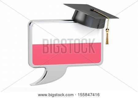 Speech bubble with flag of Poland learning concept. 3D rendering