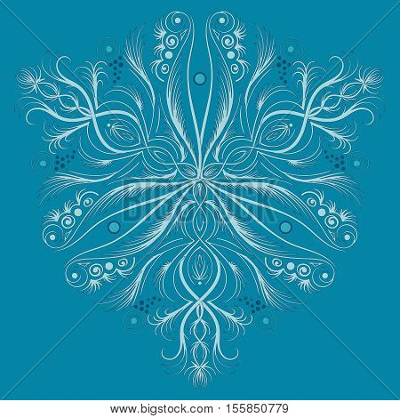 Vector art deco pattern with abstract flowers in 1920 fashion style. Boho chic and elegant vintage print with flourish decor, floral motif and circles for wedding invitation background in shabby color