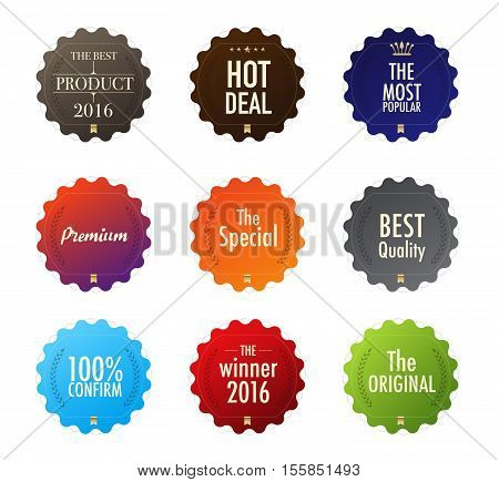 Collection Of Badge Universal. Difference Color Style. Vector Stock.