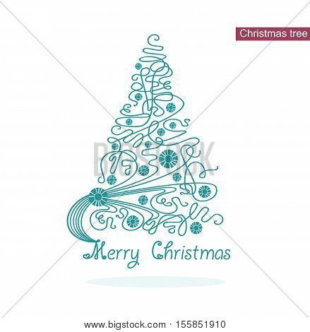 Vector elegance stylized Christmas tree. Line and circles design