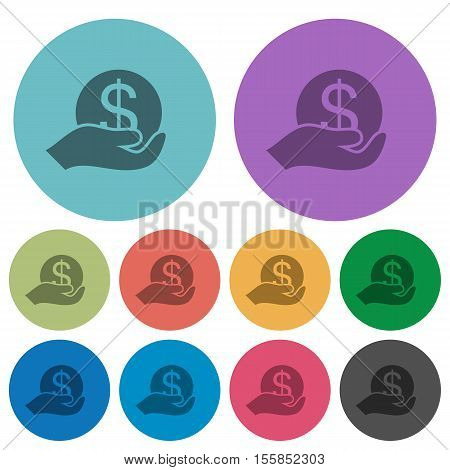 Save money flat icons on color round background.
