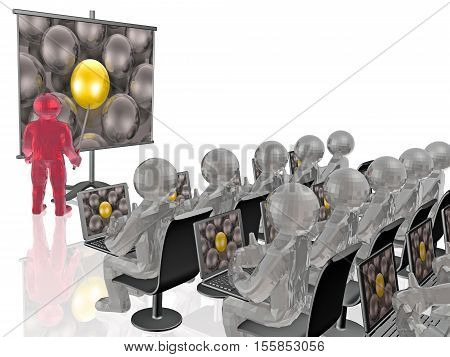 Man with presentation stand white background 3D illustration.