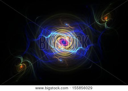 Fractal illustration of abstract concentric circles from the center of the pink and blue electrical discharges with a yellow spiral in the center and on the edges of green smoke on a black background.