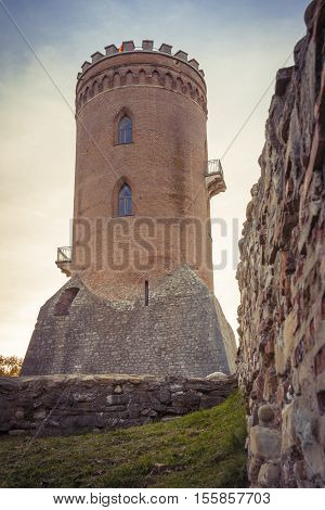 The Chindia Tower in Targoviste Romania. Ancient tower in Targoviste Romania. The Chindia tower was built in the second half of the 15th century during Vlad Dracul reign.