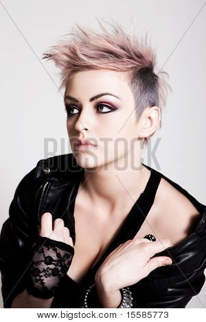 Young Female Punk With Pink Hair