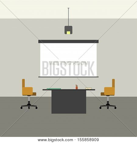 Meeting room in flat style with projector with screen.