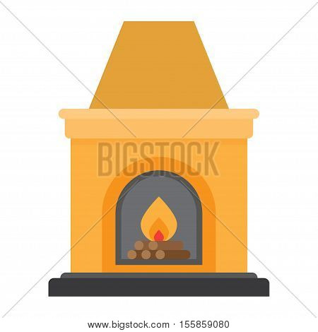 Fireplace flame bright. Christmas hearth with burning fire for house heating. vector illustration