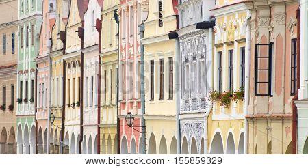 detail of facade in square of Trebon, Czech Republic.