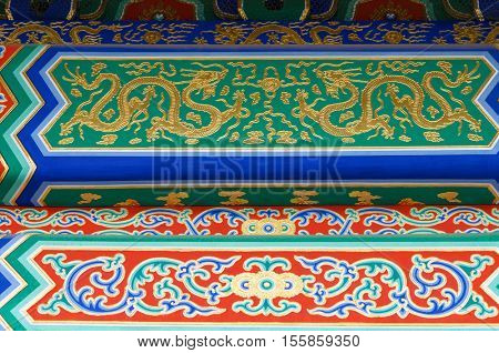 detail of a building in the Forbidden City, Beijing, China