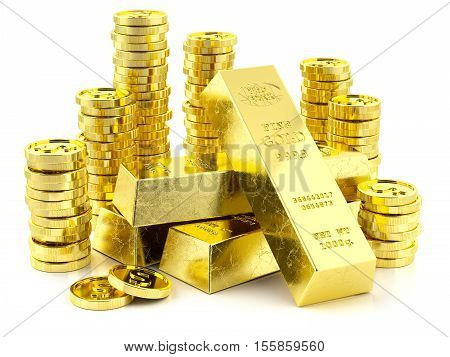 Stack Of Golden Bars And Coins