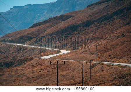 Road in the Judean Desert near Dead sea. Israel