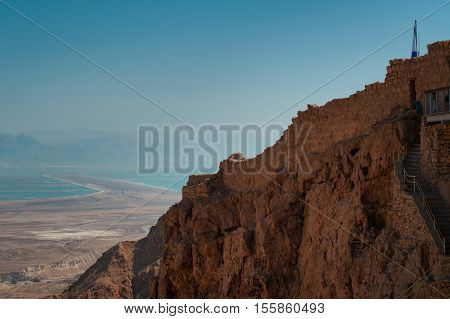 View on Judaean Desert from fortress Masada. The Dead sea on background.