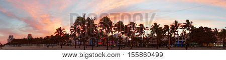 MIAMI BEACH, UNITED STATES - FEBRUARY 12:  People walk at Lummus park view near South Beach Miami by evening on 12th of February, 2016 in Miami Beach.