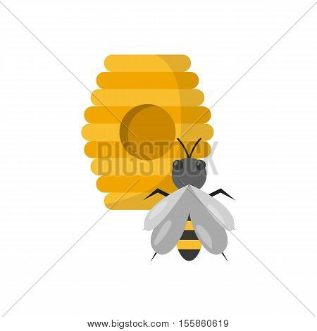 Vector cartoon illustration with beehive and bee. Sweet honey icon concept. Beekeeping apiary apiculture background design. Vector sweet bee honey objects. Isolated yellow hive