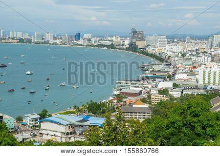PATTAYA, THAILAND - 22 October, 2016:View of building and Pattaya beach at viewpoint Pratumnak Hill in Pattaya, Thailand.