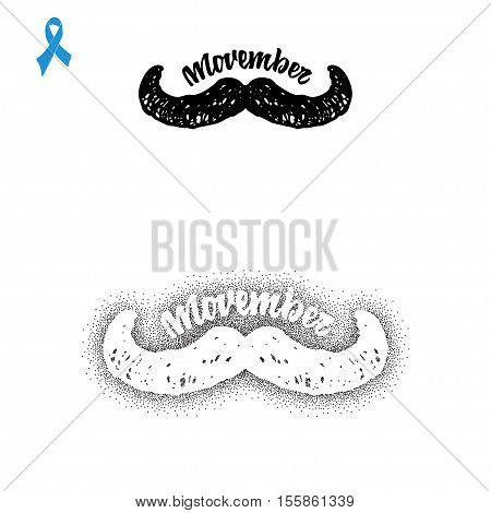 Movember. Badge November mustache, hand lettering with blue ribbon.