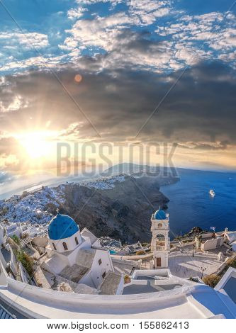 Old Town Of Thira On The Island Santorini, Famous Church Against Colorful Sunset In Greece