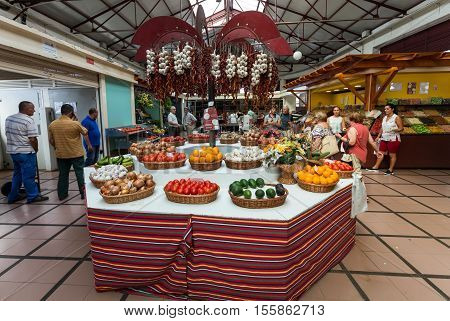 FUNCHAL, MADEIRA, PORTUGAL - SEPTEMBER 2, 2016: Fresh exotic fruits in Mercado Dos Lavradores. Funchal Madeira Portugal