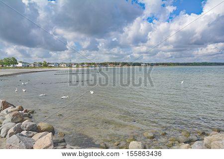Beach and Village of Glowe on Ruegen Island at baltic Sea,Mecklenburg western Pomerania,Germany