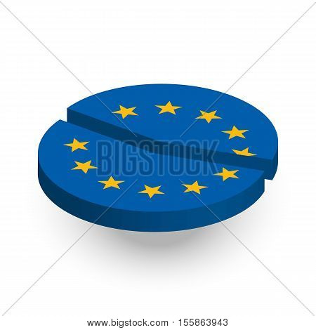 European Union Pie Chart diagramm with shadow on white