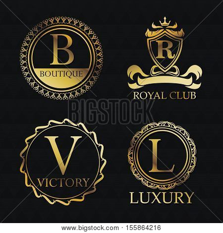 Gold emblem icon set. Exclusive rich club glamour and member theme. Black polygonal background. Vector illustration