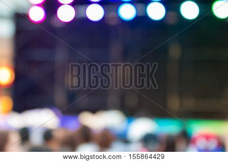 Blurred Background : Bokeh Lighting In Stage With Dance Showbiz Concept.