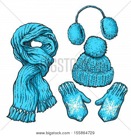 Set of bright blue knotted scarf, hat, ear muffs and mittens, sketch style vector illustrations isolated on white background. Hand drawn woolen scarf, hat with a pompom, mittens and ear warmers