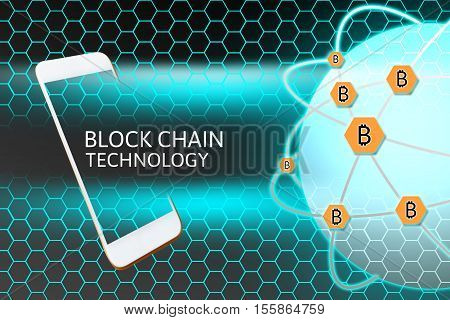 Smartphone with Blockchain concept. Bitcoin networking protection and honeycomb background
