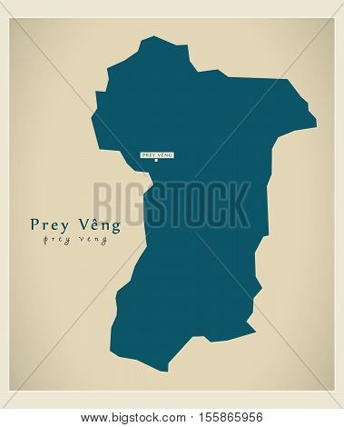 Modern Map - Prey Veng KH vector illustration high res