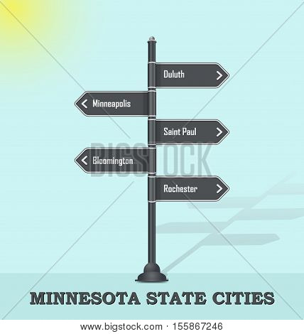 Road signpost template for USA towns and cities - Minnesota state