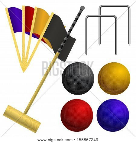Set of objects for a game of croquet