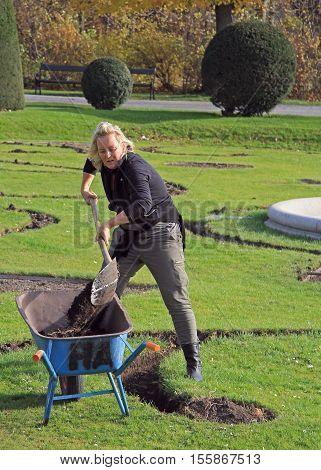 Garden Workers Are Digging In Park Of Vienna, Austria