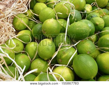Fresh Greem Limes Sold At The Market