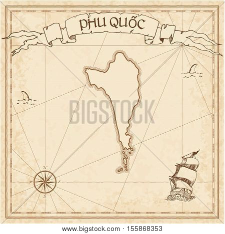 Phu Quốc Old Treasure Map. Sepia Engraved Template Of Pirate Island Parchment. Stylized Manuscript O