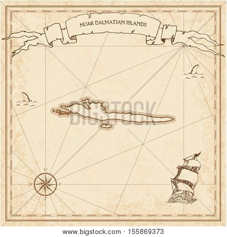 Hvar & Dalmatian Islands Old Treasure Map. Sepia Engraved Template Of Pirate Island Parchment. Styli