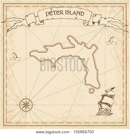 Peter Island Old Treasure Map. Sepia Engraved Template Of Pirate Island Parchment. Stylized Manuscri