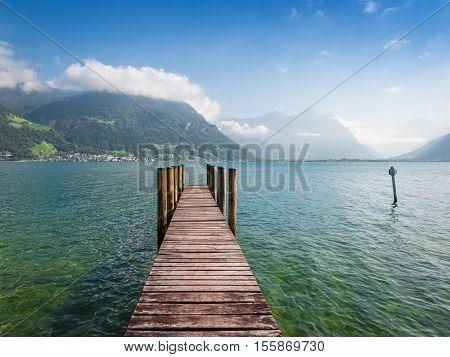 Panorama of lake and mountains. Canton Uri Switzerland