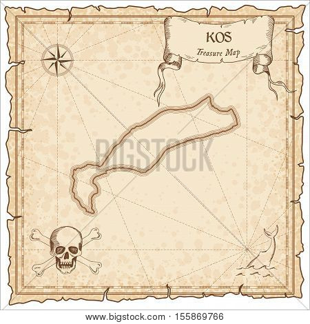 Kos Old Pirate Map. Sepia Engraved Parchment Template Of Treasure Island. Stylized Manuscript On Vin