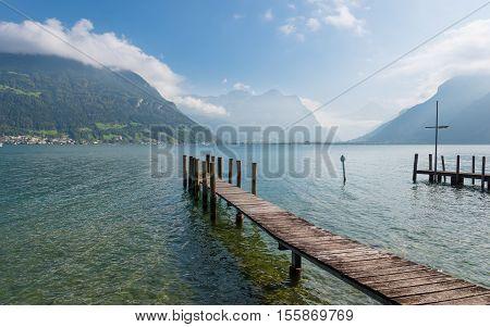 Panorama of Lake Uri. Autumn day. Switzerland