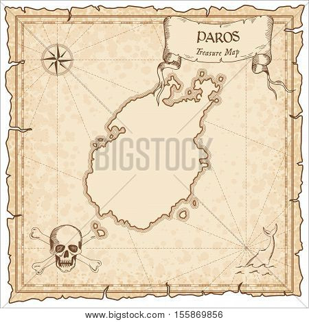 Paros Old Pirate Map. Sepia Engraved Parchment Template Of Treasure Island. Stylized Manuscript On V