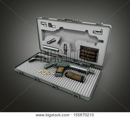 Gun In The Briefcase 3D Render On A Gradient Background