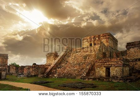 Castillo fortress at sunrise in the ancient Mayan city of Tulum Mexico