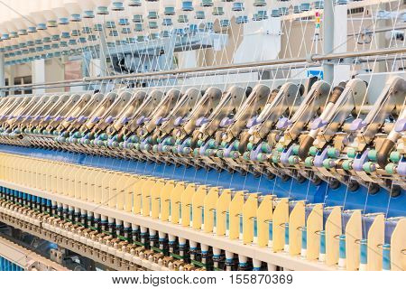 Machinery And Equipment Interior Of Textiles Factory.