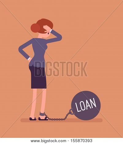 Businesswoman chained with a giant metall weight, written Loan on a ball, thinking the problem over, scratching her head. Rear view. Cartoon vector flat-style concept illustration