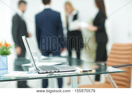 Close up photo of Digital tablet laptop computer on table. Busin