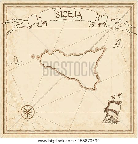 Sicilia Old Treasure Map. Sepia Engraved Template Of Pirate Island Parchment. Stylized Manuscript On