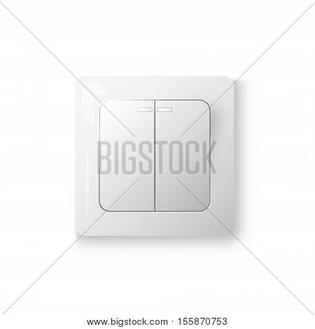 Power switch with two buttons off position realistic 3d object vector illustration isolated on white background eps 10